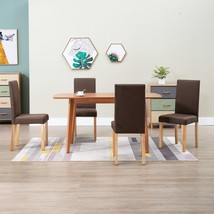 vidaXL 4x Dining Chairs Brown Fabric Home Office Kitchen Seating Furniture - $210.99
