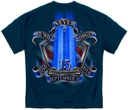 New 9-11 Tribute Shirt 15TH Anniversary Never Forget Twin Towers Licensed Shirt - $19.99
