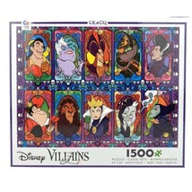 Disney Villains Stained Glass Look 1500 Piece Jigsaw Puzzle Brand New Ceaco - $39.34
