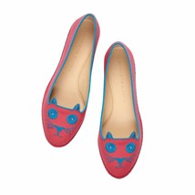 Charlotte Olympia Mexicat Pink with Turquoise Embroidery Kitty Flat 37.5 - $350.00