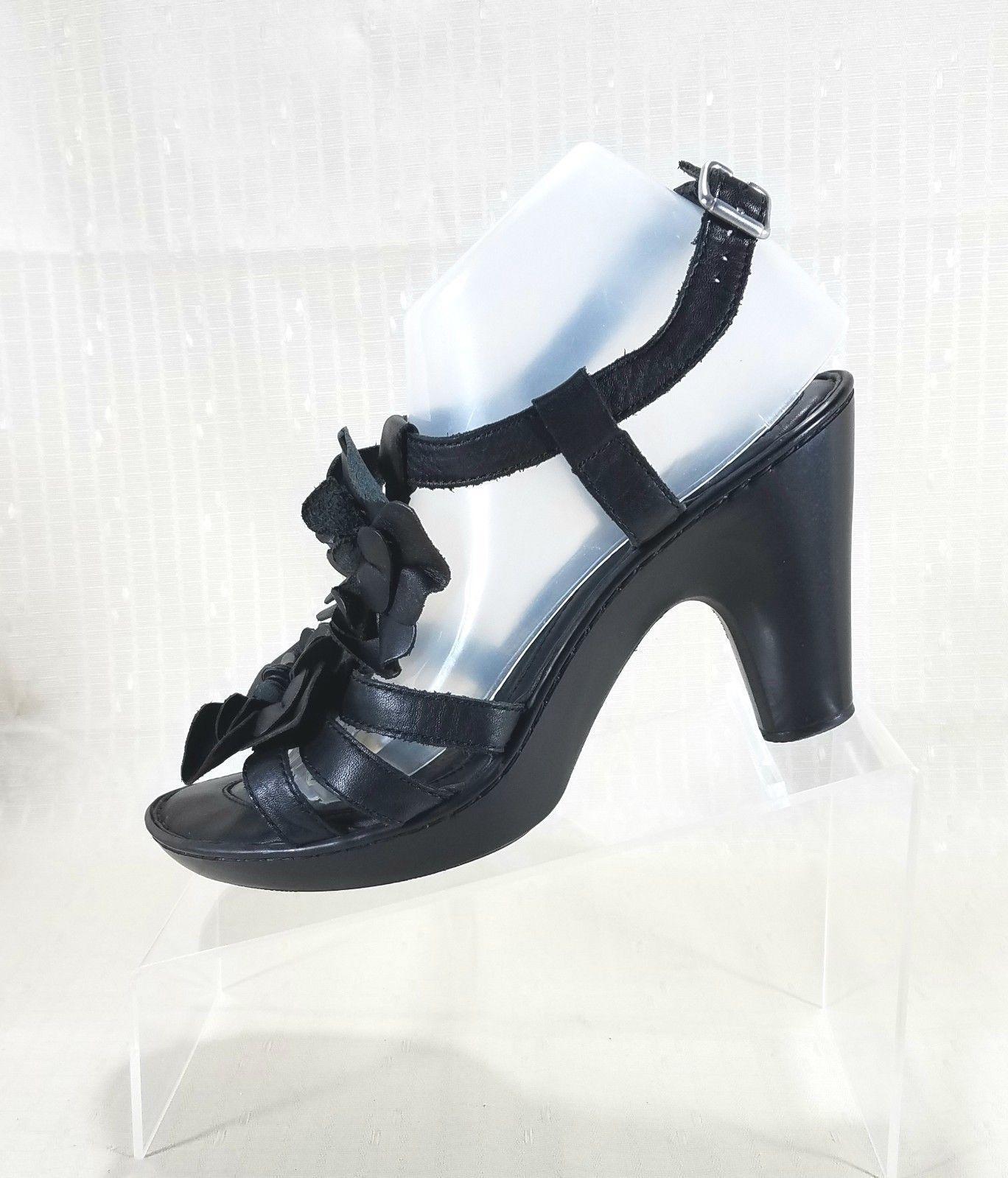 Born Floral Embellished High Heel Ankle Strap Sandals Women Size 9M Black W32324