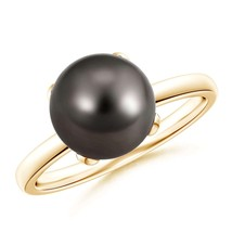 9mm Classic Solitaire Tahitian Cultured Black Pearl Ring Silver/Gold Siz... - $342.02+