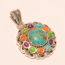 925 Sterling Silver Blue Turquoise Thai Fashion Jewelry Pendant Valentin... - $28.04