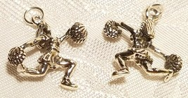 CHEERLEADER FEMALE WITH POM POMS 925 STERLING SILVER CHARM