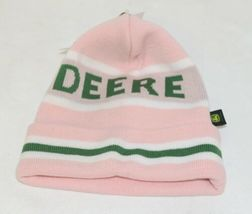 John Deere LP47339 Acrylic Pink Green And White Cuffed Beanie image 4