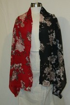 J.Jill Women's 100% Wool Red Black Taupe Pink Floral Fashion Scarf - $33.76