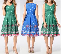 Women's Sexy V Neck Flora Print Casual Dresses Short Dress Skater Dress - $35.98