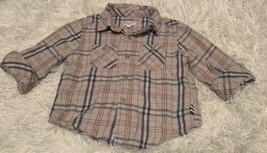 Boys Splendid Plaid Shirt Size 6-12 Months Gray Navy Red Long Sleeves  - $8.59