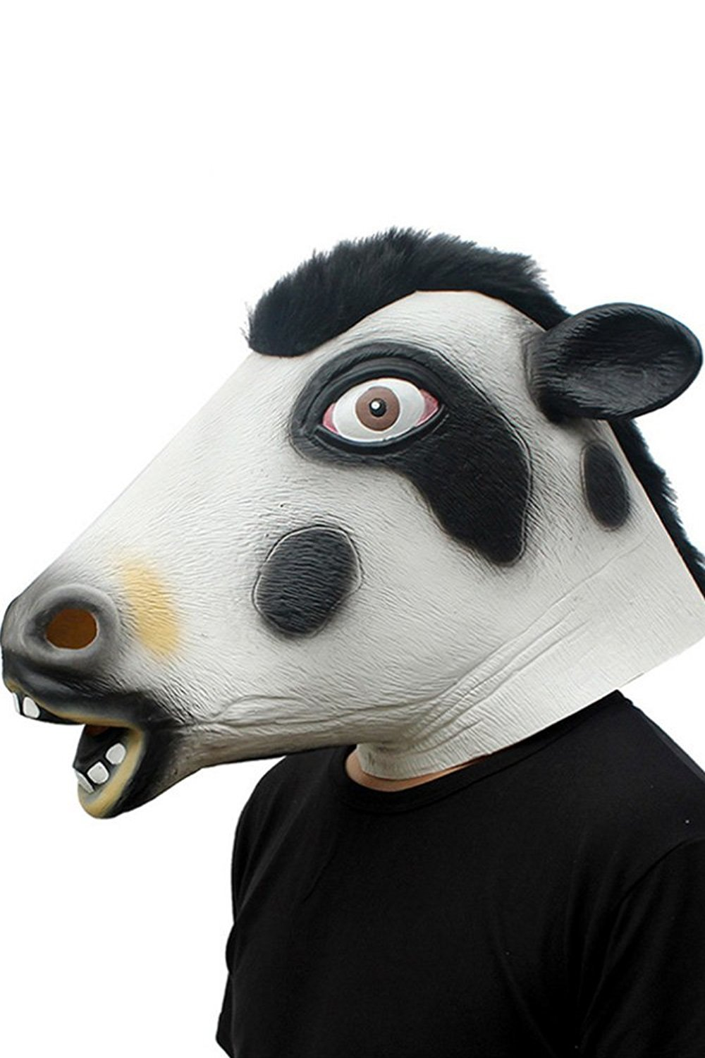 Cosplay Halloween Costume Party Latex Dog Head Mask, Cow