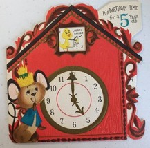 HALLMARK ~Mechanical DieCut Vintage Happy Birthday 5 Year Old ~ Clock Wi... - $4.94
