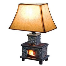 NEW! Ceramic Fireplace Table Lamp Realistic Stone 40W Cozy Warm US - $67.82