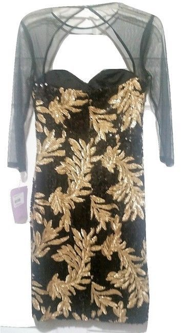 NWT JS Collections Illusion Neck Sequin Dress Size 4