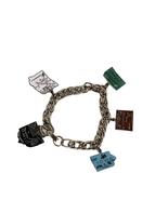 Vintage Link Charm Bracelet 5 Enameled State Charms Most Sterling Silver - $48.99