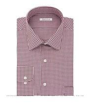 Van Heusen Mens Gingham Spread Long Sleeve Red Check Dress Shirt 17.5 36/37 - $19.79