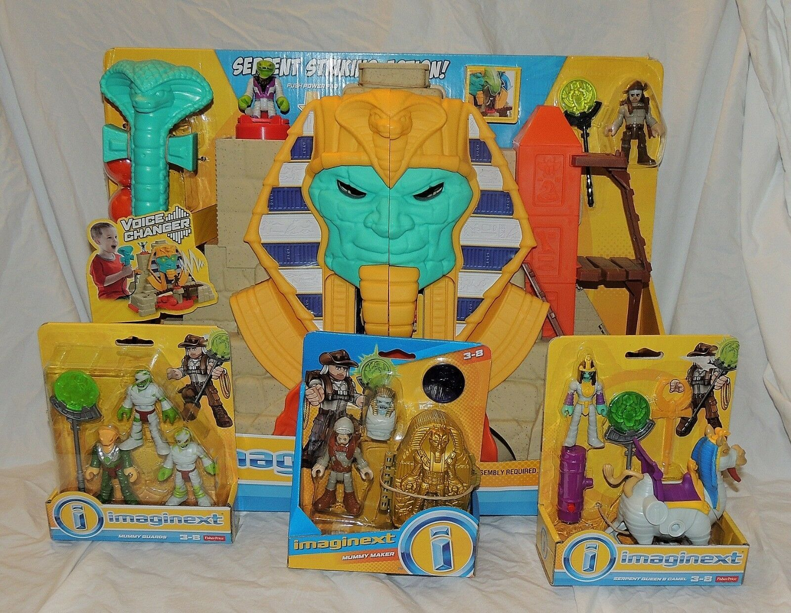 New Fisher Price Imaginext Serpent Strike Pyramid Treasure Mummy 4 Piece Queen