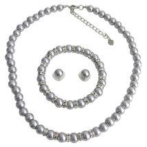 Gray Pearl Necklace Gray Stud Earrings Gray Bracelet Pearl Rhinestone Br... - $9.60