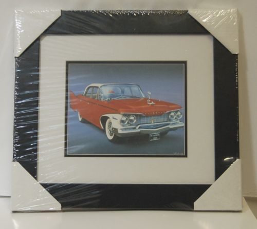 Made On Earth 6716 1960 Red Plymouth Belvedere Matted Framed Serial 3624514