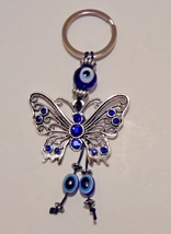 "2"" Silver Butterfly Keychain With Crystals & Gl... - $5.99"
