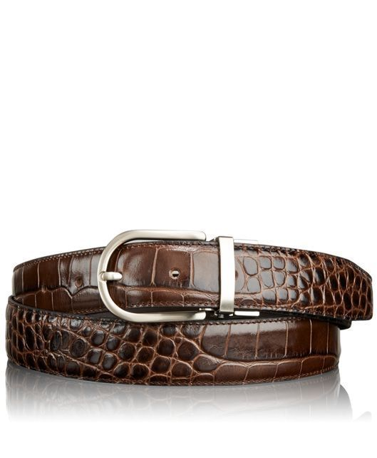 NWT TUMI men's 42 belt Crocodile leather brushed nickel hardware Brown $225