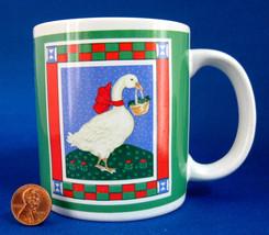 Holiday Mug Christmas Goose With Basket Ribbons Retro Stoneware 1980s Christmas  - $28.00