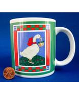 Holiday Mug Christmas Goose With Basket Ribbons Retro Stoneware 1980s Ch... - $28.00