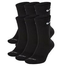 NEW Nike Dri Fit Everyday Plus Cushion Crew Socks 6 Pair L 8-12 SX6897-0... - $25.00
