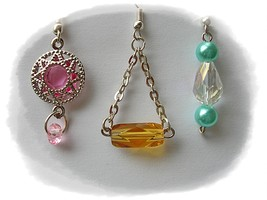 Earring Set 3 Pink Citrine Turquoise Blue Crystal Pierced Nicklefree - $12.00