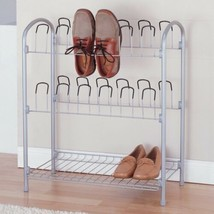 NEW 12 Pair Metal Closet Shoe Organizer Storage Rack Boots 3 Tier Hooks ... - $49.40