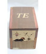 Duck Cedar Box for Tie Socks 3 Compartment Cells Carved Crafted TE Wood ... - $19.79