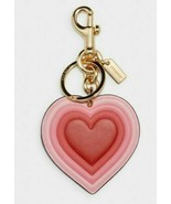 Coach 70's Heart Burst Signature Canvas Bag Charm Key FOB C3111 Pink Mul... - $44.54