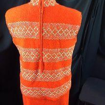 Vtg St John Knits Wiggle Groovy Hostess Sweater Dress Orange Gold Metallic M image 3