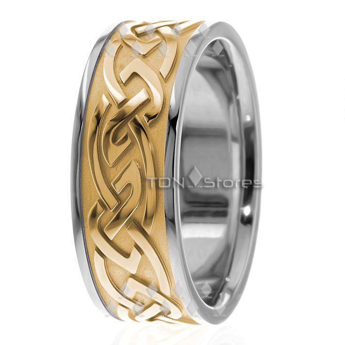 14K SOLID WHITE GOLD MENS 9MM CELTIC WEDDING BANDS RING MANS CELTIC WEDDING RING