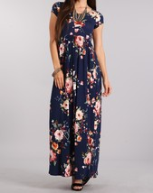 Navy Floral Maxi Dress, Short Sleeve Maxi Dress, Maternity Friendly, Womens