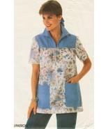 Vintage Misses Retro 80s Scrubs Front Zipper Smock Top Sew Pattern 10-14 - $9.99