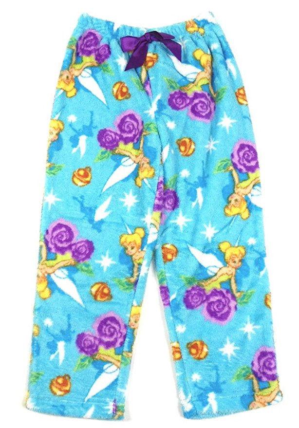 Large 10/12 Girl's Tinker Bell Plush Pajamas Pants Bottoms Disney Fairies NEW
