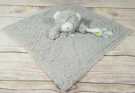 Blankets & Beyond Plush Gray Shaggy Teddy Bear Lovey Security Blanket 16... - $19.39