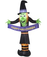 """Halloween Airblown Inflatable Witch Holding """"Happy Halloween"""" Banner 12f... - $143.54"""