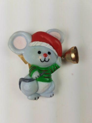 Vintage Hallmark Christmas Magnet Mouse w/ Santa Hat Holding Bell