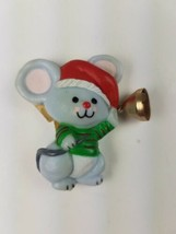 Vintage Hallmark Christmas Magnet Mouse w/ Santa Hat Holding Bell - $9.65