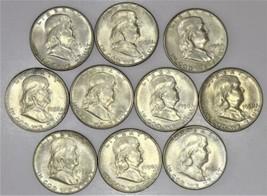 Ten '50 Bens! (10) Pieces 1950 Franklin Half Dollars; Choice AU-BU   - $227.69