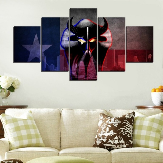 5 Panel Houston Texans Sports Poster Canvas Painting