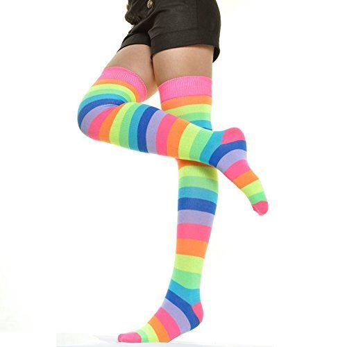 Angelina Rainbow Thigh High Socks, #6753A, Neon Rainbow One Size - 6pack