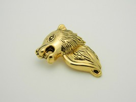 Wolf Gold Tone Texture Metal Large Vintage Pin Brooch Pendant image 2
