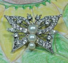 """Vintage Jewelry: 1 1/4"""" Rhinestone Butterfly Brooch 170707 - $8.90"""