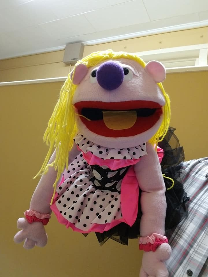 "Professional ""Girl w/Dot Dress"" Muppet Style Ventriloquist Puppet * Custom Made"