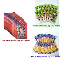 36 Pcs Mix SNACK Taro Red 25g 12 Pcs Bento Blue 5g 12 Pcs TKN Green 3.5g... - $43.85