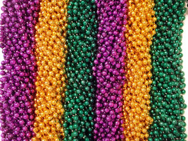 216 Purple Green Gold Mardi Gras Beads Necklaces Party Favors 18 Dozen - €33,86 EUR