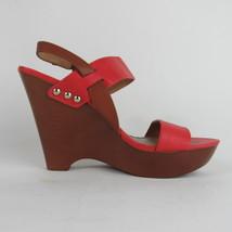 Nine West Womens Wedge Sandals Shoe Size 8.5 M Coral Brown Side Strap Pl... - $30.84