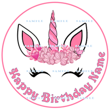 UNICORN: ROUND Personalized Edible Image Cake Topper - $9.78