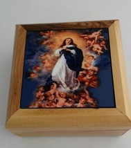Rosary Box - Bethlehem Olive wood Immaculate Conception. Cofre con Rosa... - $29.00
